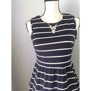 Lands' End Canvas Navy Striped Dress